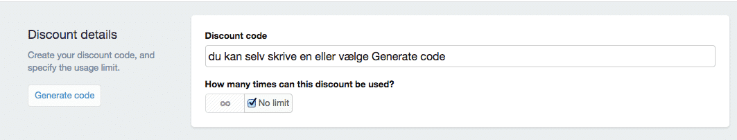 discount code details