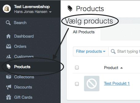 Vælg producs i Shopify