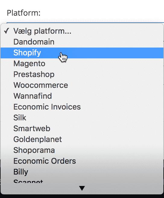 shopify som platform pakkelabels